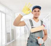 Ressam işçi gösteren ok işareti — Stok fotoğraf