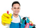 Erkek temizlik hizmeti — Stok fotoğraf