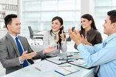 Clapping office workers — Stock Photo