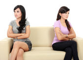 Two woman hates each other — Stock Photo