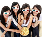 Woman watching movie in 3d — Stock Photo