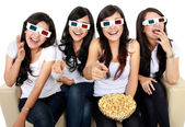 Laughing at comedy movie in 3d — Stock Photo