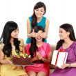 Beautiful girls celebrate birthday — Stock Photo #19850629