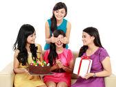 Beautiful girls celebrate birthday — Stock Photo