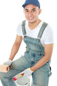 Painter worker smiling — Stock Photo