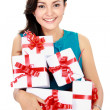 Beautiful girl with gift boxes — Stockfoto #20562035