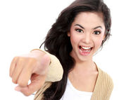 Teanager pointing her finger — Stock Photo