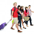 Happy teenager tourists  — Stock Photo