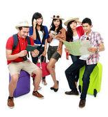 Ομάδα των νέων τουριστικών — Φωτογραφία Αρχείου