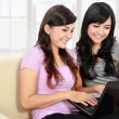 Two woman with laptop — Stock Photo