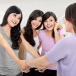 Group of woman meet old friend — Stock Photo