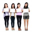 Girls holding white board — Stock Photo