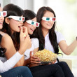 Group of girls watching the movie — Stock Photo