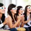 Group of girls watching good 3D movie — Stock Photo