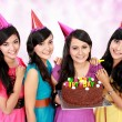 Beautiful girls celebrate birthday — Stock Photo #21236455