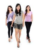 Group of beautiful women walking together — Stock Photo