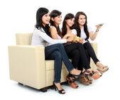 Group of girls watching movie — Stock Photo