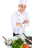 Chef with fresh ingredient — Stock Photo