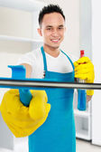Man cleaning the house — Stock Photo