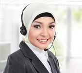 Beautiful Muslim woman customer service operator — Stock Photo