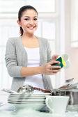 Washing dishes — Stok fotoğraf