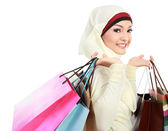 Young muslim woman with shopping bag — Stock Photo