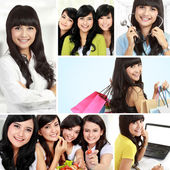 Attractive asian woman collage — Stock Photo