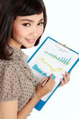 Happy businesswoman with annual report — Stok fotoğraf