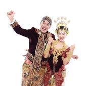 Happy traditional java wedding couple — Stock Photo