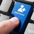 Blue add friend button on the keyboard — Stock Photo