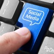 Blue social media button on the keyboard — Stock Photo