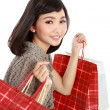 Happy Shopping Girl Holding bag — Stock Photo