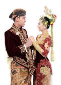 Traditional java wedding couple husband and wife hold each other — Stock Photo