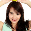Beauty fitness woman with fresh apple — Stock Photo