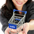 Attractive asian businesswoman with shopping cart — Stock Photo