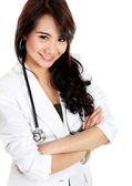 Beauty female doctor with arm crossed — Stock Photo