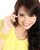 Beauty teenager girl calling by phone — Stock Photo