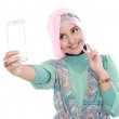 Happy young muslim woman take self portrait — Stock Photo