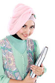 Happy muslim student portrait holding a few books — Stock Photo