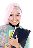 Retrato de estudiante feliz unos libros — Foto de Stock