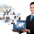 Businessman with his network team — Stock Photo #29313629