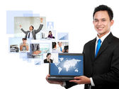 Businessman with his network team — Stock Photo