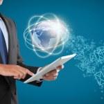 Businessman navigating in virtual reality interface — Stock Photo #30705815