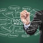 Business man writing social media concept — Stock Photo #30705915