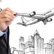 Stock Photo: Businessman drawing business travel concept
