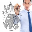 Male drawing city development concept — Stock Photo