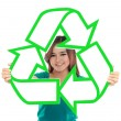 Asian young woman holding recycle sign — Stock Photo #32016797