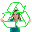 Asian young woman holding recycle sign — Stock Photo