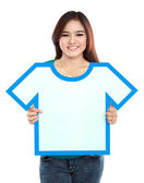 Asian young girl holding t-shirt symbol — Stock Photo