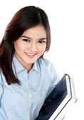 Portrait of happy student holding a few books — Stok fotoğraf